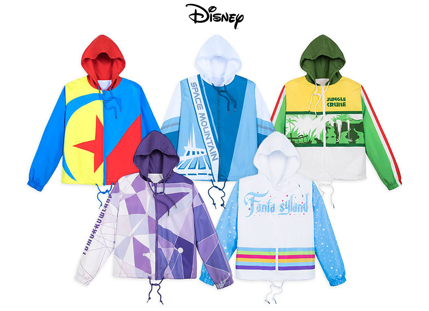 Art development & design of merchandised women's Disney attraction themed windbreakers sold at Disney Parks & Resort and shopdisney.com