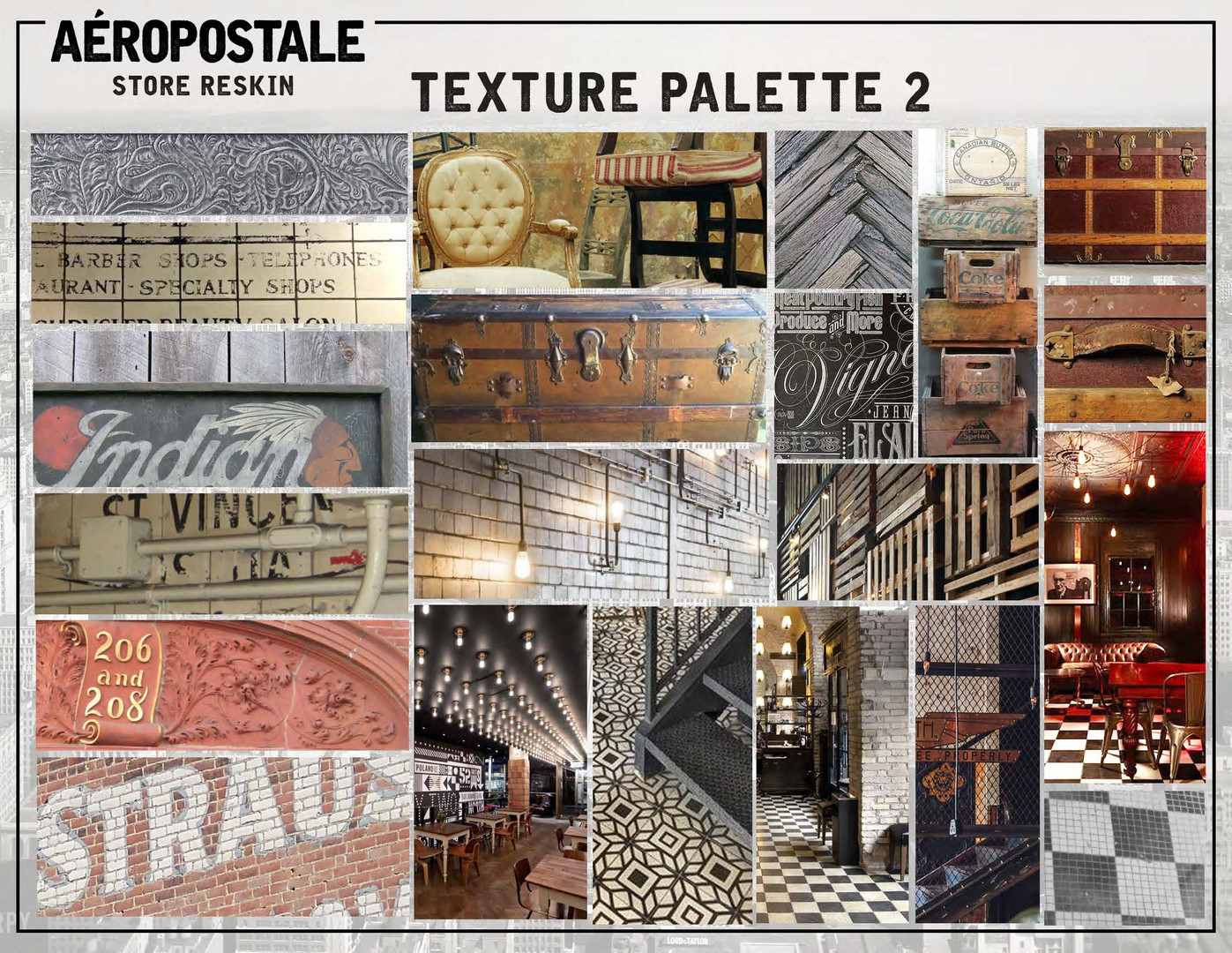 Merchandised visual inspiration board for various in-store floor and wall textures