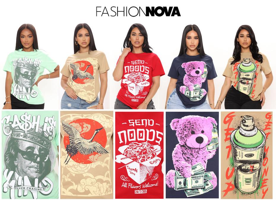 Women's graphic development, sold at Fashion Nova.