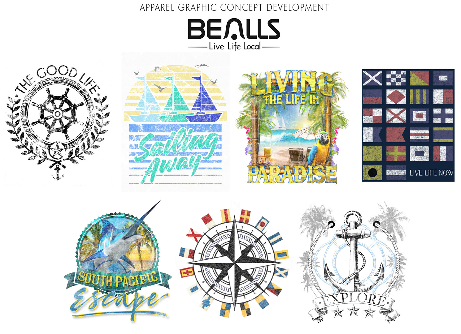 Apparel graphic concept development for Bealls.
