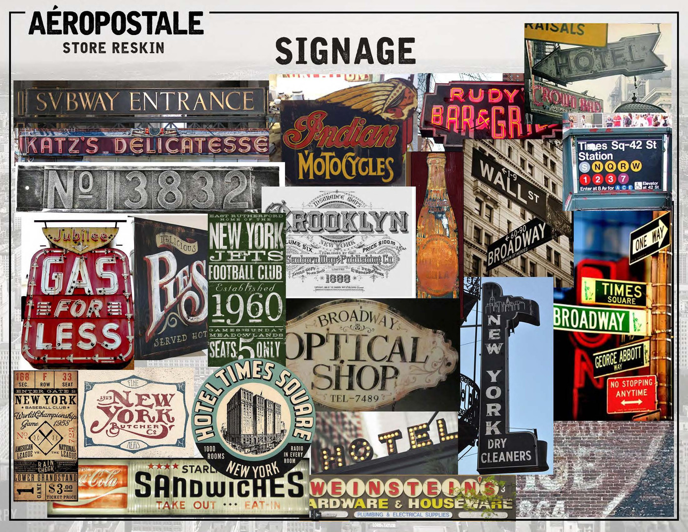 Merchandised visual inspiration board for various in-store signage