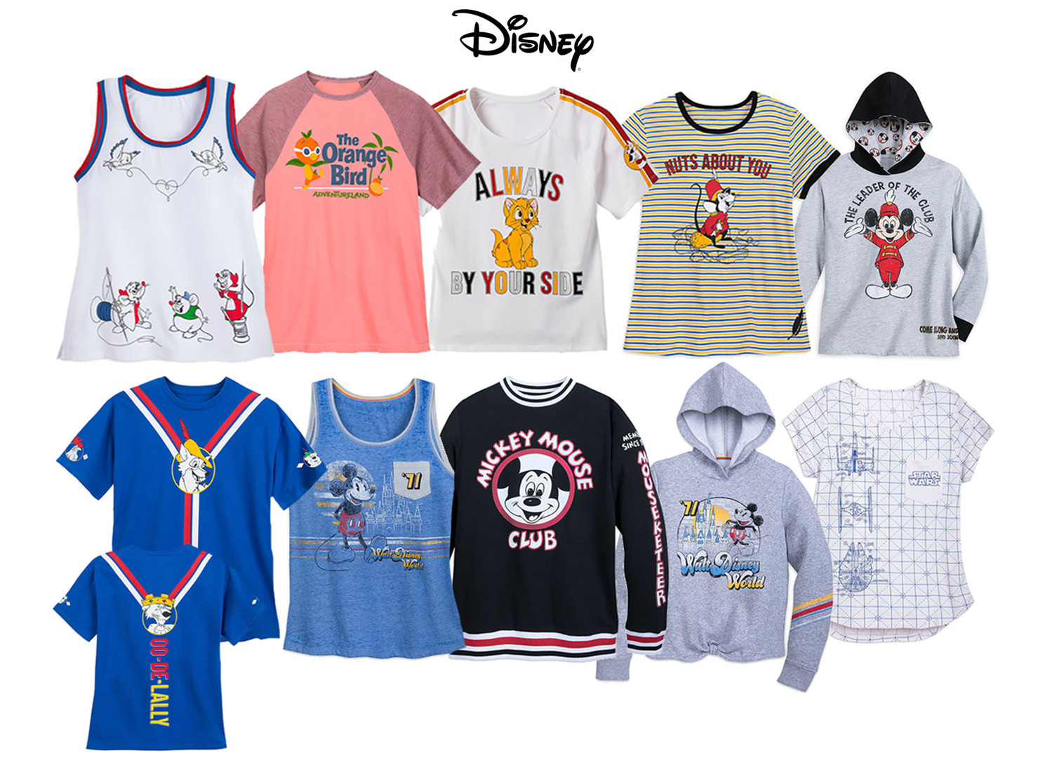 Art development & design of various women's graphic tops sold at Disney Parks & Resort and shopdisney.com