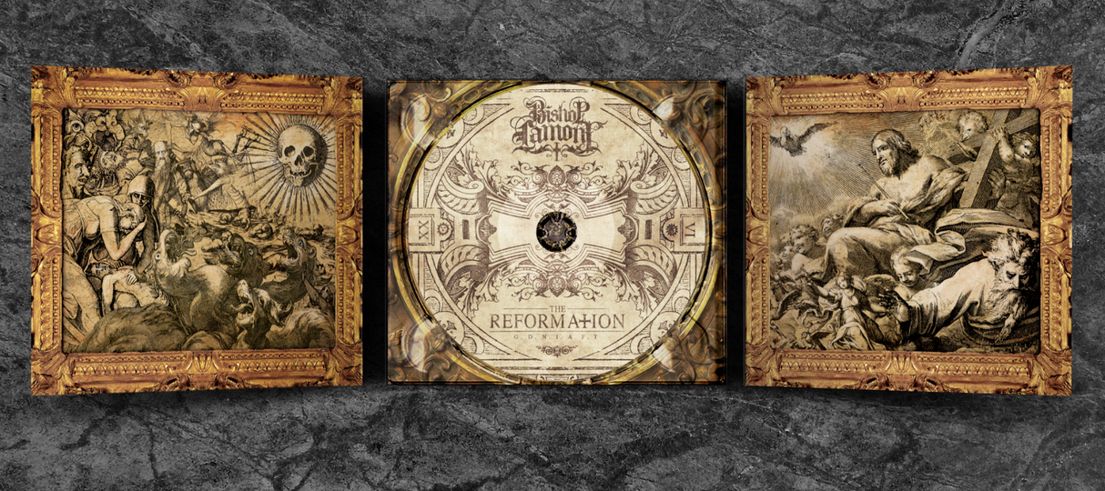 """Art Direction: CD digipak package design for recording artist Bishop Lamont's 2016 album release, """"The Reformation: G.D.N.I.A.F.T"""" (inside view w/ cd)"""