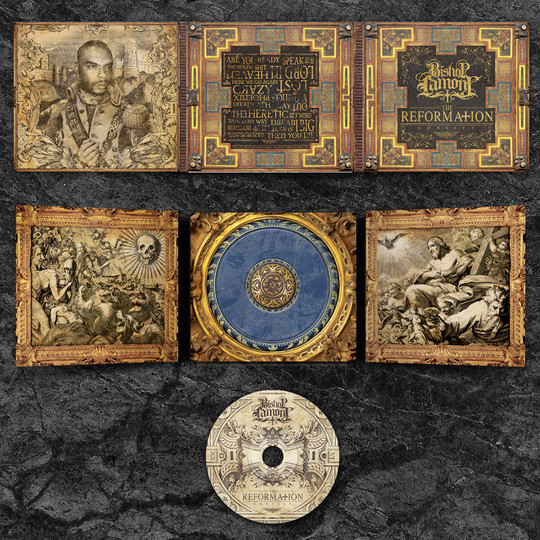 """Art Direction: CD digipak package design for recording artist Bishop Lamont's 2016 album release, """"The Reformation: G.D.N.I.A.F.T"""" (full view)"""