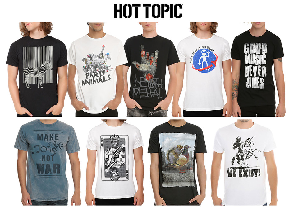 Graphic development for Hot Topic Men's, sold at Hot Topic retailers and Online.