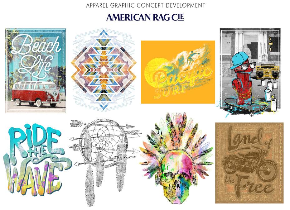Apparel graphic concept development for American Rag Cie.