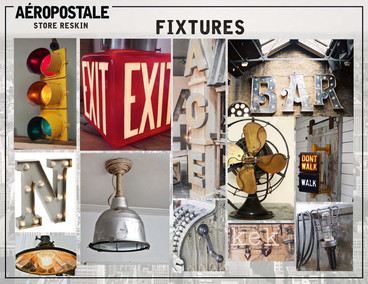 Merchandised visual inspiration board for various in-store fixtures