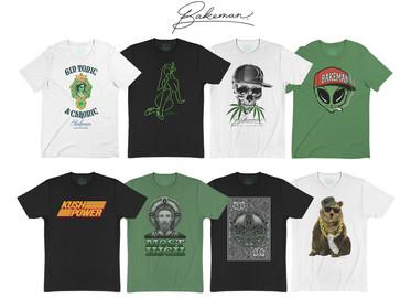 Graphic development for Cannabis streetwear brand Bakeman Los Angeles.