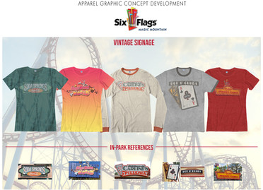 Merchandised apparel collection inspired by vintage signage throughout the Six Flags park.