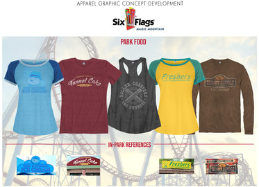 Merchandised apparel collection inspired by popular food vendors throughout the Six Flags park.