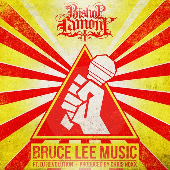 """Single cover art design for recording artist Bishop Lamont ft. Dj Revolution: """"Bruce Lee Music"""""""