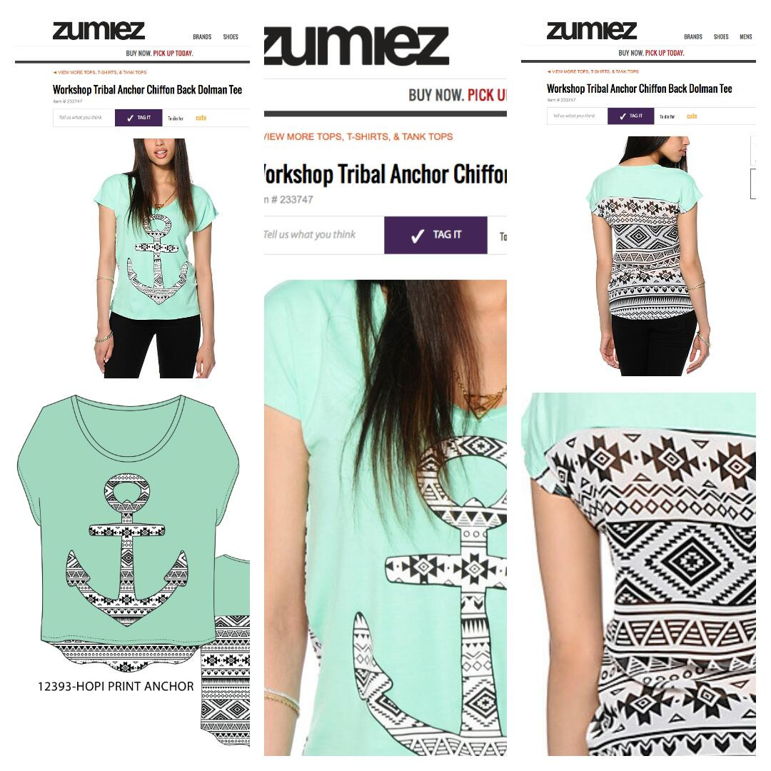 Women's graphic development sold at Zumiez