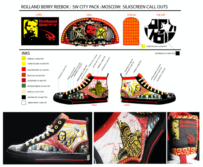 Graphic development & technical design for Rolland Berry: Reebok (City Pack: Moscow)
