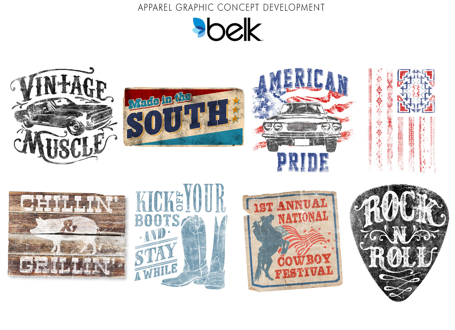 Apparel graphic concept development for Belk.