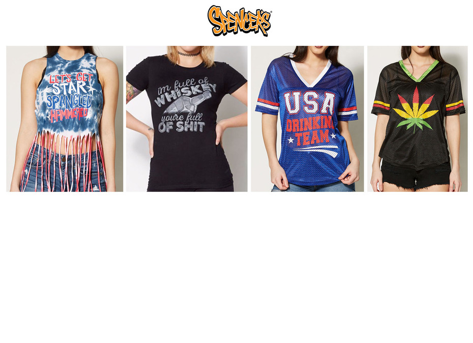 Women's graphic development sold at Spencer's retail stores and online.