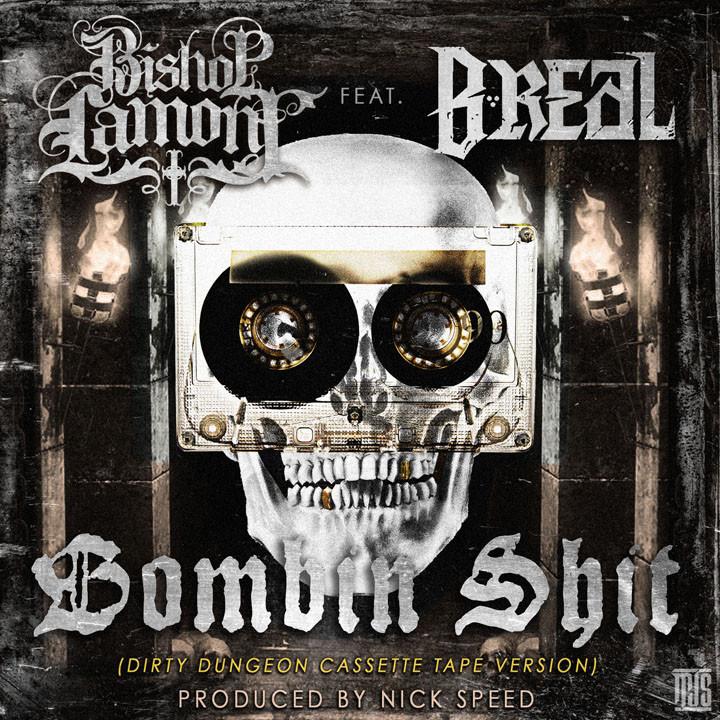 "Single cover art design for recording artist Bishop Lamont ft. B-Real: ""Bombin Shit"""