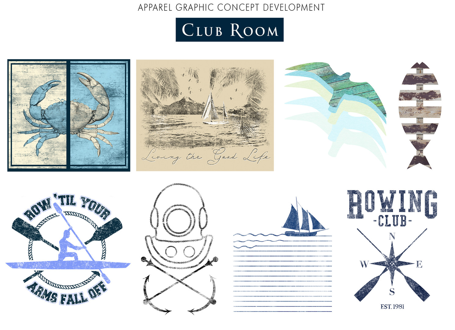 Apparel graphic concept development forMacy's Club Room.