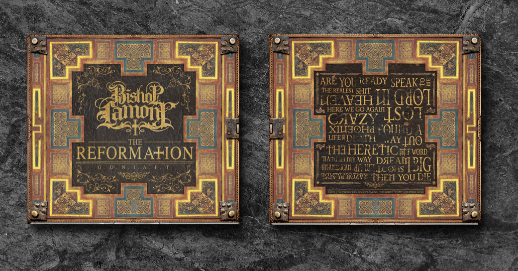 "Art Direction: CD digipak package design for recording artist Bishop Lamont's 2016 album release, ""The Reformation: G.D.N.I.A.F.T"" (front / back view)"
