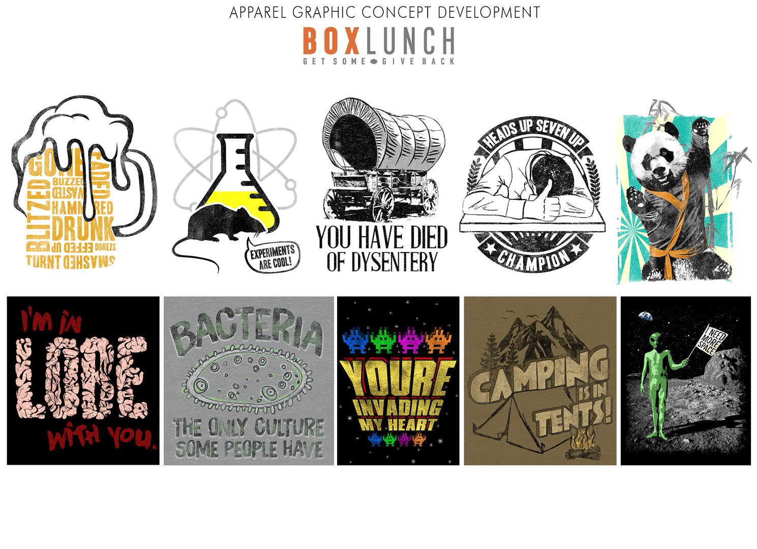 Apparel graphic concept development for Box Lunch.