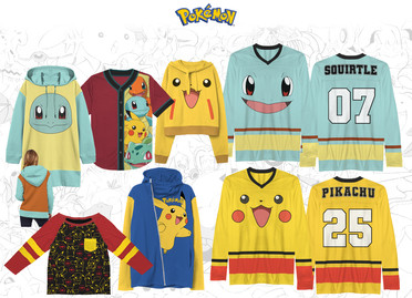 Various apparel tops collection concepts based on popular Pokemon characters.