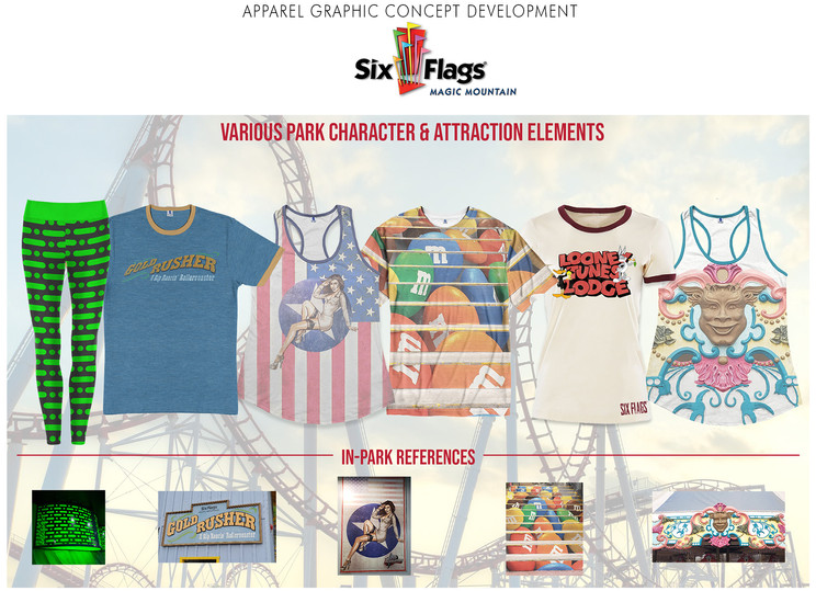 Merchandised apparel collection inspired by popular Six Flags characters and attractions.