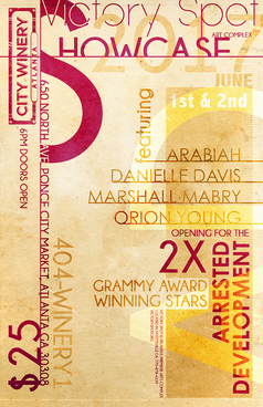 Showcase poster design hosted by Arrested Development event.