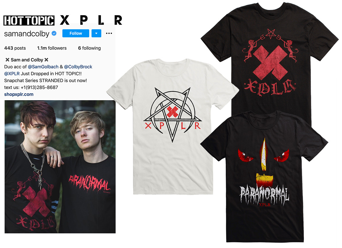 Graphic development for Hot Topic / Sam & Colby: XPLR brand sold at Hot Topic retail stores and online.