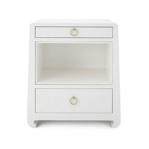 Bungalow 5 Ming 2-Drawer White Grasscloth Side Table with Chow Feet