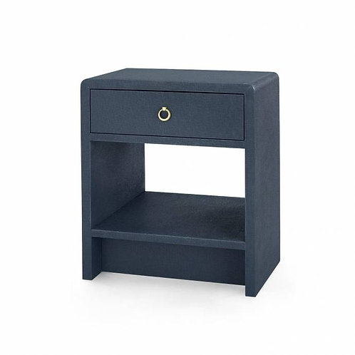 Bungalow 5 Benjamin Contemporary Navy Blue Lacquered Linen 1-Drawer Side Table