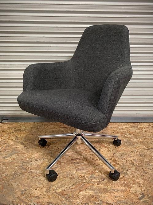 Home Office Desk Chair Fabric in Dark Grey