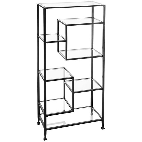 Jaymes Metal and Glass Etagere Black