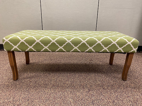 Green and White Pattern Bench