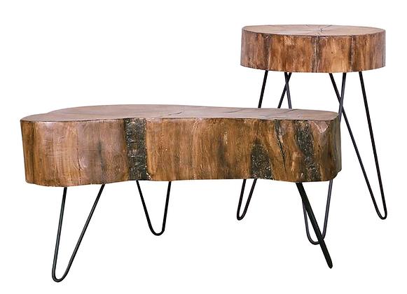 RUSTIC WOOD COFFEE & SIDE TABLE