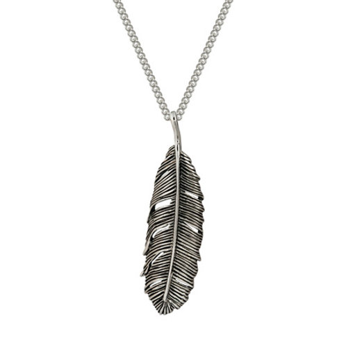 4N10001 Huia Feather (oxidized) Necklace