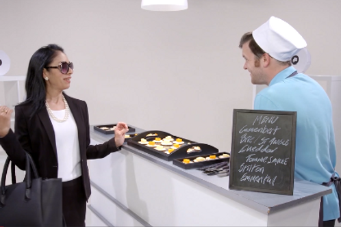 Mrs Arrogant (Customer Service) Bonjorno, Cheese Man