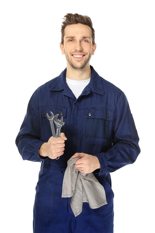 Handsome auto mechanic on white backgrou