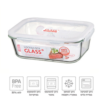קופסת זכוכית 2 ליטר מלבנית