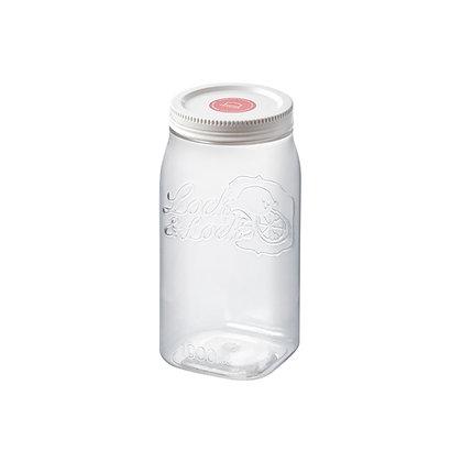 צנצנת הרמטית מרובעת פלסטיק 1 ליטר
