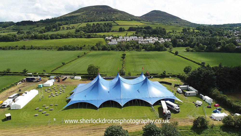 Aerial photography by Sherlock Drones Photography of Big Top in Melrose, Scottish Borders