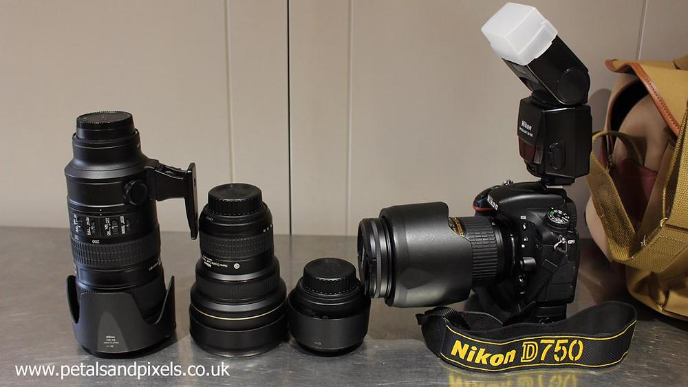 Wedding photographer's kit, Nikon D750, by Petals and Pixels