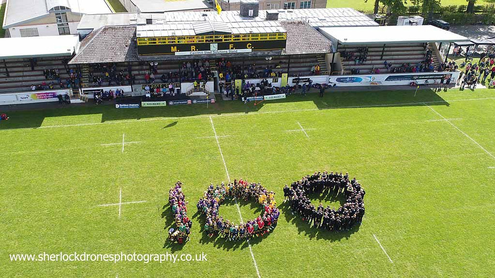 Melrose Rugby Club, image by Sherlock Drones Photography, aerial photography Scottish Borders