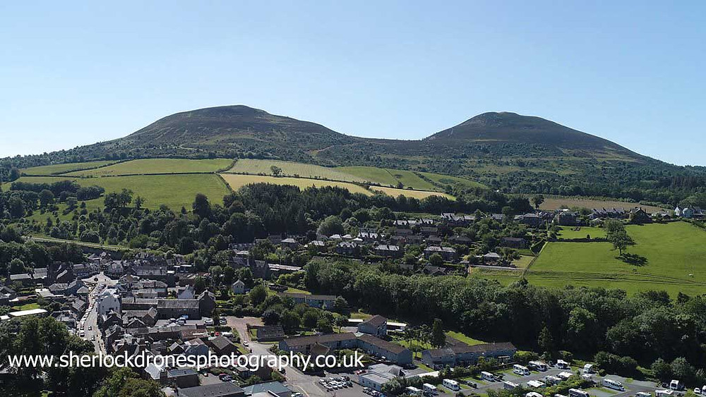 Aerial photography of Melrose with Eildon Hills by Sherlock Drones Photography
