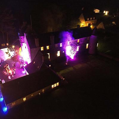 Ferniehirst Castle at night