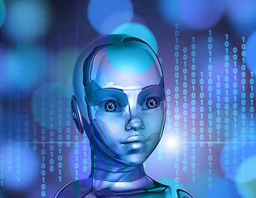 Female-robot-talks-about-artificial-intelligence-in-education.