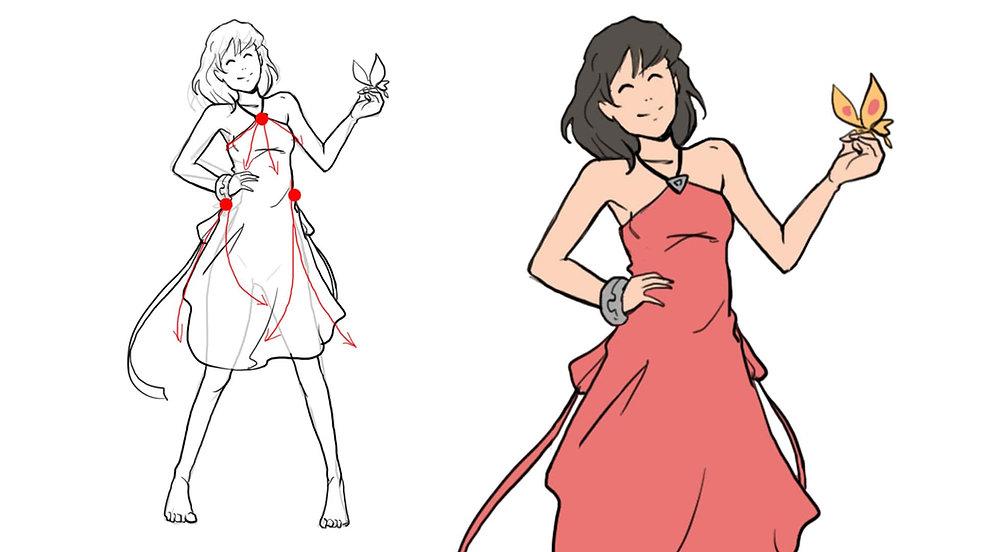 Apprendre à dessiner un personnage robe