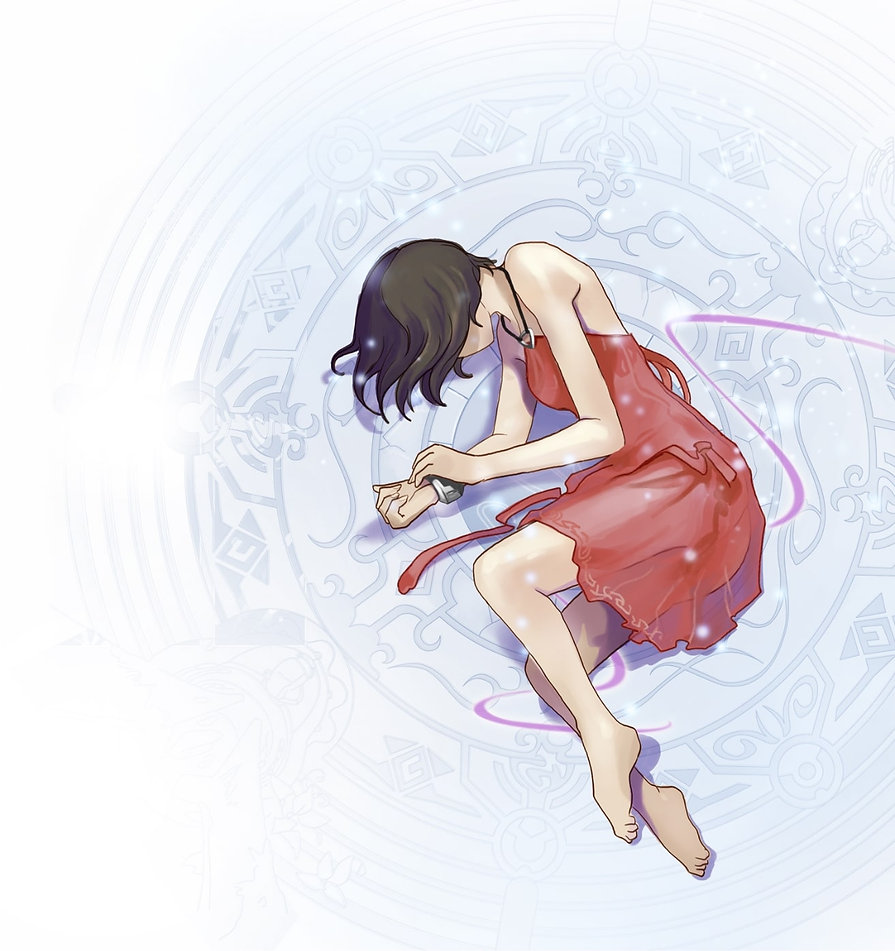 Jeune fille robe rouge endormie position
