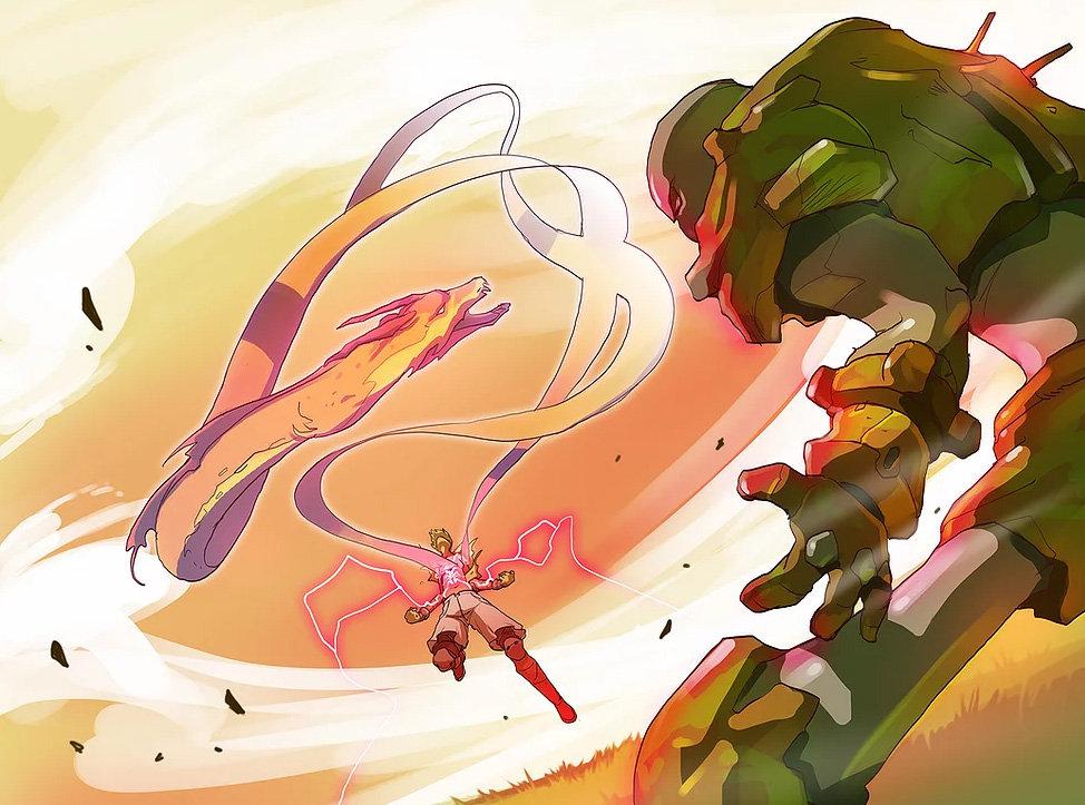 Golem et dragon explosion de pouvoir