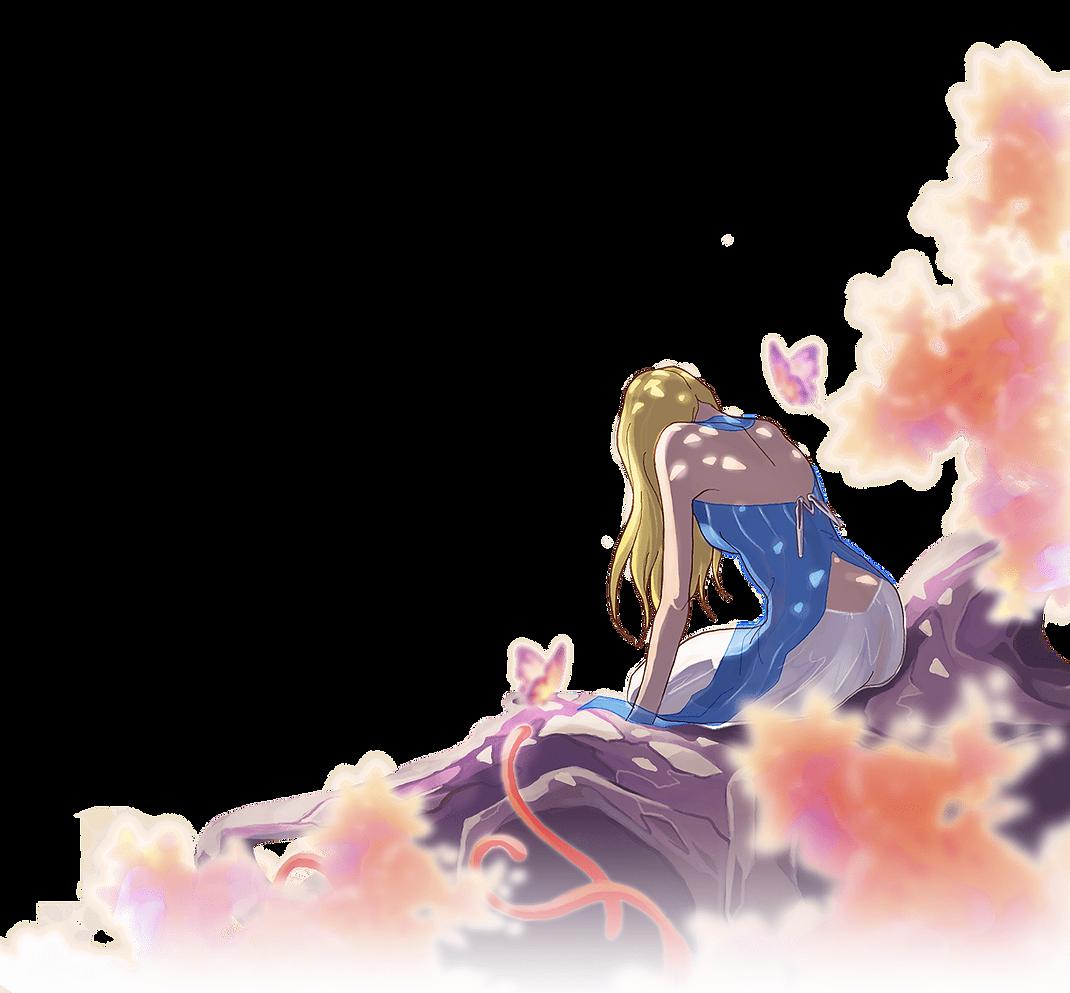 Jeune fille bonde arbre papillons