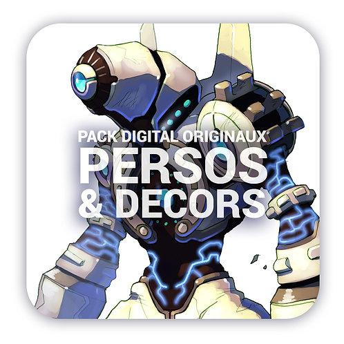 Pack digital personnages et décors - Fichiers originaux