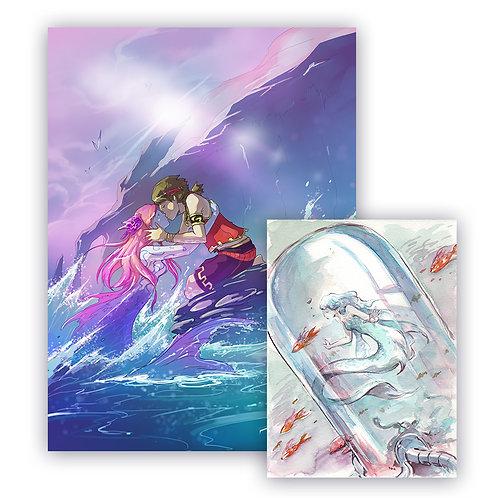 """Pack """"mermay"""" poster + carte aquarelle"""